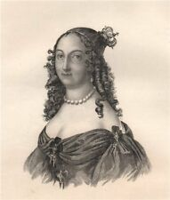 Marie-Louise Gonzaga, Queen of Poland. Poland 1835 old antique print picture