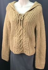 Women's Abercrombie & Fitch Beiges Knit Lambswool Sweater Hoodie Size L Large