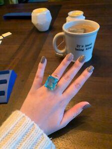 Natural Aquamarine Diamond Ring 14K Yellow Gold Women's Big Jewelry Engagement