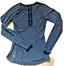 LULULEMON Pace Pusher Long Sleeve Heathered Black size 4 EUC Reflective Run Yoga