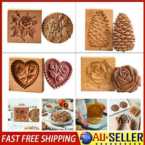 Gingerbread Mould pattern carved Openwork Wooden cookie Baking Embossing Mold