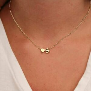 Fashion Tiny Heart Dainty Initial Letters Chain Pendant Necklace Choker Women