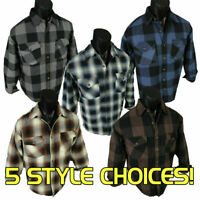 Mens Plaid Jacket Heavy Weight Quilted Lined Sleeves Buffalo Brawny Four Pockets