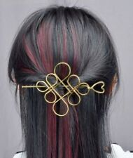 Large Gold Hair Pin Chinese Knot & Heart Design Stick Clip Grip Slide UK Seller