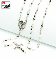 """New Men's Silver & White 4mm Bead Guadalupe & Jesus Cross 25"""" Rosary HR 700 SSWH"""