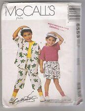 Childrens Shirt, T Shirt, Shorts, Duffle Bag, Hat McCalls #6553 Pattern Size 2