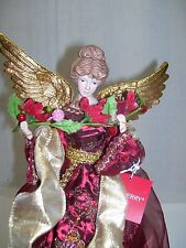 """Christmas Tree Topper Angel With Gold Wings 16.5"""" Tall Red Gold Decoration NWT"""