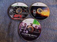 3X LOT 360 Saints Row The Third,UFC 2009,HALO 3 Xbox DISCS IN EXCELLENT SHAPE