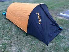 eureka solitaire 1 person camping tent, mattress, pillow, sleeping bag and tarp