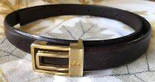 Small YSL Yves Saint Laurent Vintage Leather Belt 3/4 x 32 Brown Gold Mens Brass