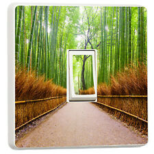 Beautiful tree lined pathway through the forest light switch sticker(40267732)
