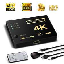 4K Ultra HD 3 Way HDMI Switch Splitter HDTV Auto 3 Port IN 1  Remote Cont Gift
