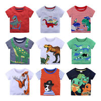 Summer Kids T-shirt Tops Baby Boy Cotton Short Sleeve Cartoon Dinosaur Print