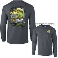Jumping Muskie Pike Fish Muskellunge Lake River Fishing Long Sleeve Tee Shirt