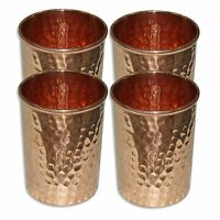 Copper Hammered Tumbler Glass for Ayurvedic Health Benefits (Gold)-Set of 4