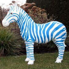 ZEBRA 95 cm Wildtiere Zoo Afrika Deko Figur Garten DUISBURG FUSSBALL blau weiß