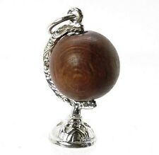 Sterling SILVER LUCKY Touch WUD wood Globe Charm
