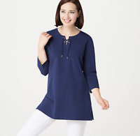 Denim & Co. Essentials Jersey Tunic w/ 3/4-Sleeve and Lace-Up Neck - Navy - XL