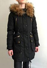 BURBERRY BRIT Authentic Parka Coat Goose Down Jacket M Black Hooded Real Fur
