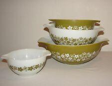 Vintage Pyrex Green Crazy Daisy Blossom Handled Nesting Complete 4 Bowl Set