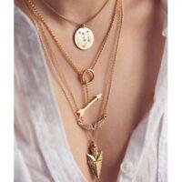 Gold Chain Women Fashion Charm Pendant Choker Statement Bib Necklace Jewelry