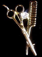 SCISSORS & COMB BROOCH PIN Hair Dresser Stylist Faux Diamond Fashion Jewelry NEW