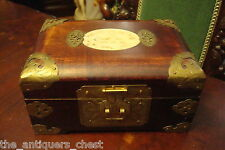Vintage Chinese Rosewood Jewelry Box with celadon Jade carved Plaques[2]