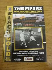 25/04/1998 East Fife v Inverness Caledonian Thistle  .  Thanks for taking the ti