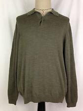 Brooks Brothers Mens Wool Sweater Extra Fine Italian Merino L Sz Green Long Slv
