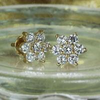 2 CT Round Cut VVS1 Diamond Halo Stud Earrings 14k Yellow Gold Finish
