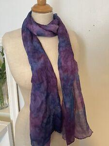 Lucy Harper Malvern Vintage Hand Dyed Pure Silk Purple Tie Dye Scarf 42x175cm