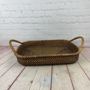 Pampered Chef Woven Selections Wicker & Wood Basket Serving Tray