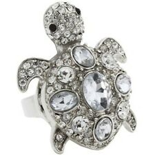 NWT Guess Silver Metal-Clear Rhinestones-Black Eyes Turtle Shaped Ring, Size 8