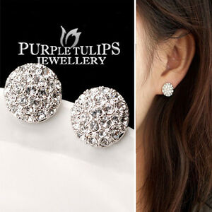 18ct White Gold Plated Made With Swarovski Crystal Ball Stud Earrings for ladies