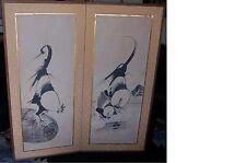 RARE Antique Japanese BYOBU Screen Rooster/Hen Original Art