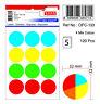 TANEX OFC-133 Vielzweck Etiketten rund (Ø 32 mm) gemischte Farben, 60 Etiketten