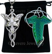 ELVEN LEAF Brooch + Arwen EVENSTAR Necklace SET Hobbit LOTR Lord of The Rings