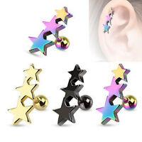 1-4 PCS 16G TRIPLE 3-STAR TRAGUS CARTILAGE EAR RINGS HELIX TRAGUS CONCH EARRINGS