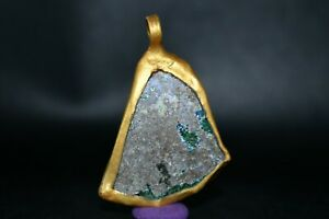 Ancient Roman Glass Pendant with Gold Plated Metal Mount With Patina Surface