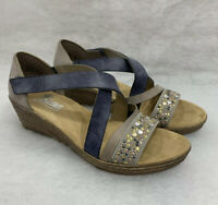 Ladies Rieker 62405-42 Grey Wedge Sandals Size 6.5 Sale Price