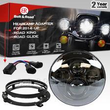 "Dual Beam Headlight for 2014-2017 Harley Road King 7"" LED Daymaker +Bracket"