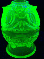 Green OWL Vaseline glass Fairy lamp votive candle holder uranium bird light tea