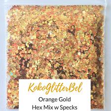 Holographic Orange Gold Glitter Mix Hex | 1 TSP | Acrylic Gel Nail Art Design