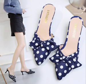 Womens Kitten Heels Sandals Polka Dot Cloth Bow Sweet Slippers Pointed Toe Shoes