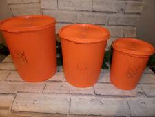 More details for tupperware vintage orange trio storage containers x 3