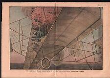 Fire Aircraft Avion Explosion Fuel tank Gas Essence Hamburg 1909 ILLUSTRATION