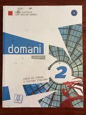 Libro de texto italiano A2 Domani 2 nuevo y forrado
