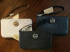 MICHAEL KORS FULTON LG TOP ZIP PVC LEATHER WRISTLET MK SIGNATURE 3 choices NWT