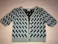 Milly of New York Aqua Gold Black Cashmere Wool Cardigan Sweater Taille M