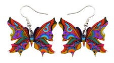 Butterfly Earrings Blue Insect Charm  Acrylic  Hypoallergenic Women Children